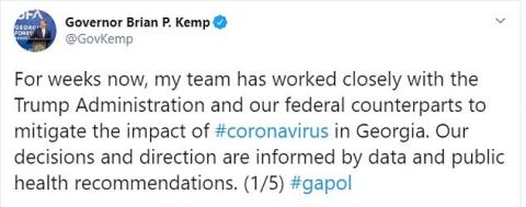 Georgia becomes one of the first states to reopen after coronavirus